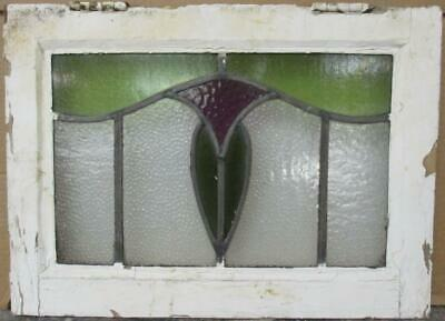 """OLD ENGLISH LEADED STAINED GLASS WINDOW Nice Abstract Floral Design 19.25"""" x 14"""""""