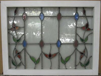 """MID SIZED OLD ENGLISH LEADED STAINED GLASS WINDOW Streaky Floral 29.25"""" x 22.25"""""""