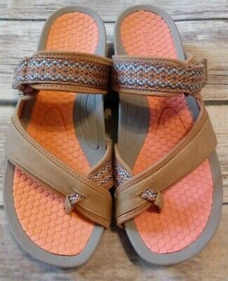 05a4591068f6 BARETRAPS Women s Tan Orange Velcro Close Slip On Flip Flop Sandals Size 9.5 M
