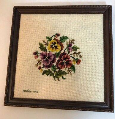 Purple and Yellow Pansies Needlepoint Hand-stitched Completed Picture Framed