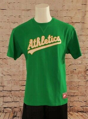4c3d07eb Nike MLB Cooperstown Collection Oakland Athletics A's Green White Shirt L  EUC