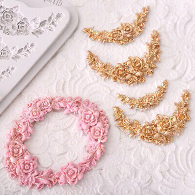 Rose Flower Garland Silicone Mold Cake Border Jewelry Wedding Decorating Tools