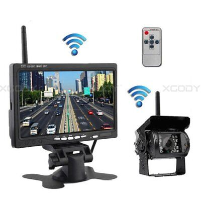 "Car Wireless Reversing Backup Camera 7"" LCD Color Monitor Screen Truck Rear View"