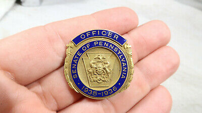 1935 36 OBSOLETE Pennsylvania PA Officer for Senate Pin