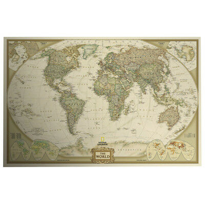 Wood Paper Retro World Map Antique Paper Poster Wall Chart Home Decor Applied