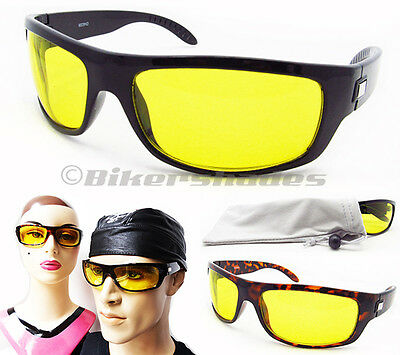 YELLOW Sunglasses Night Vision Driving Motorcycle Cycling Men Women Glasses