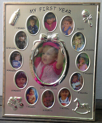 Baby's My First Year 12 Month Photo Frame Silver Holds 13 Photos