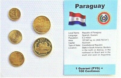PARAGUAY, SET of 5 GEM UNCIRCULATED COINS