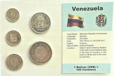 VENEZUELA, SET of 5 GEM UNCIRCULATED COINS