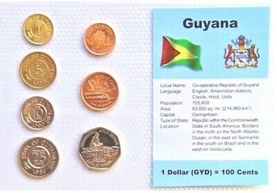 GUYANA, SET of 7 GEM UNCIRCULATED COINS.