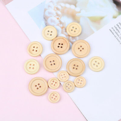 50 pcs mixed wooden buttons natural color round 4-holes sewing scrapbooking DIY&