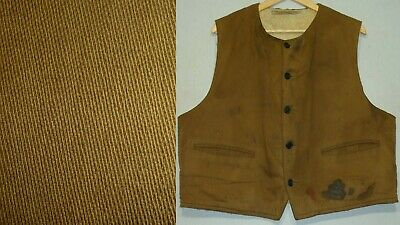 Vtg Distressed 1940s 1950s Sears Hercules Twill Shearling Lined Workwear Vest L