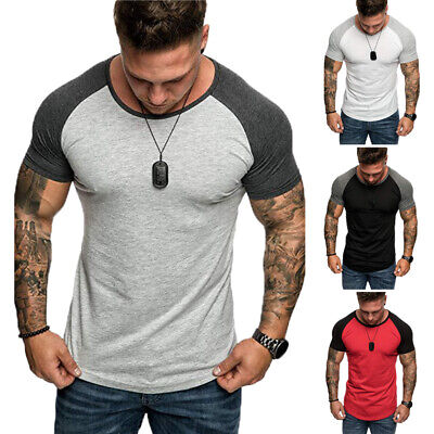 Men's Short Sleeve Slim Fit Blouse T Shirt Summer Casual Muscle Tee Tops Shirts