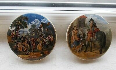 Prattware Pot Lids - The Village Wedding and The Trooper