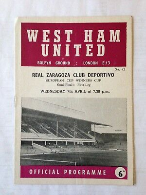 1964/5 West Ham United V Real Zaragoza (Ecwc S/f)