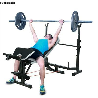 Mid-Width Weight Bench Lifting Press With Home Gym Equipment Exercise Set US