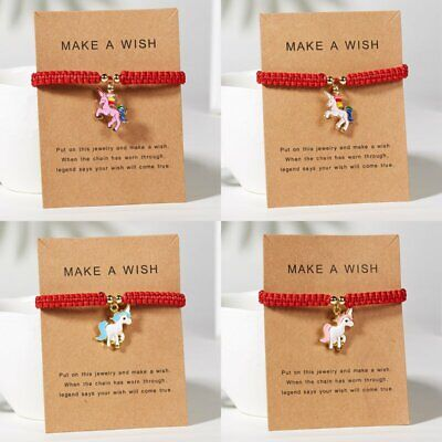Multicolor Animal Horse Bracelet Red Rope String Jewellery Lucky Wish Card Gift