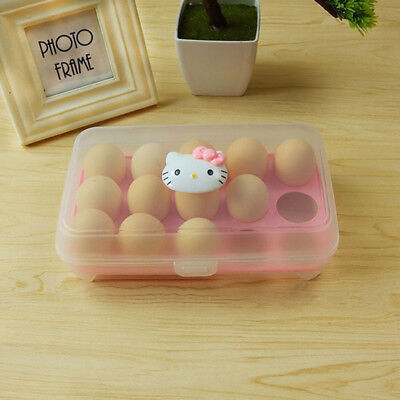Hello Kitty 15 Egg Holder Refrigerator Container Kitchen Storage Organizer Box