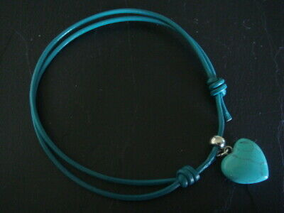 Adjustable 2mm leather cord anklets in pink or turquoise gemstone heart charm