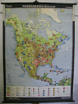 Schulwandkarte Wall Map Map Role Map North America Economy Pictures 100x135cm