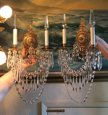 Pair Vintage Bronze Brass Crystal lamp BOW Sconce ROCOCO Spain French waterfall