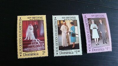 Dominica 1986 Sg 998-1000 60Th Birthday Of Queen .mnh