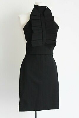 Dsquared2 Black Body Con Ruffle Front Dress Size M Fits Uk 6/8