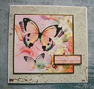 Handmade Butterfly Birthday Card Textured Greeting Card