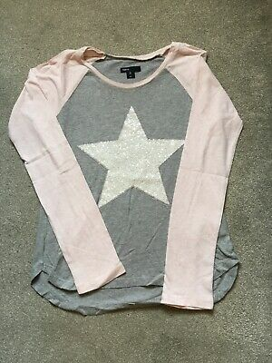 GAP Kids Grey And Pink Girls Top with Sequin Star Design Age 12