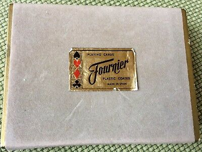 Unused Double Deck Of Vintage Fournier Playing Cards In Box