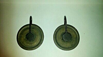 pair of antique  8 day grandfather clock weight pulleys