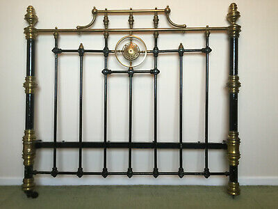 """Antique Victorian Brass and Cast Iron Double Bedstead 4' 6"""" Wide"""