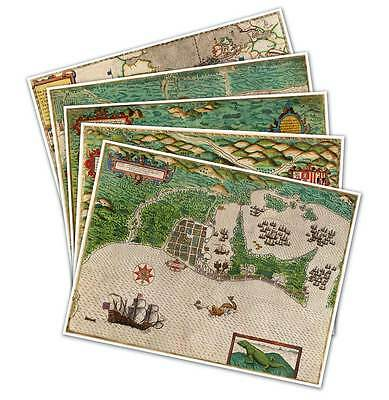 "5 Map Set Illustrating Sir Francis Drake's West Indian Voyage circa 1595 18""x24"""