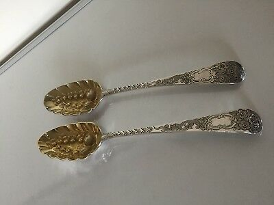 Beautiful Pair Of Uncased George Iii Solid Silver Berry Spoons (London 1776/1778
