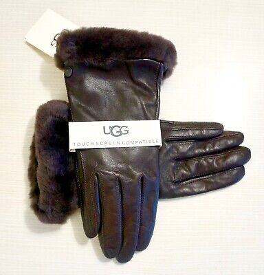 NWT UGG Women's Shearling Trimmed Leather Touchscreen Compatible Gloves, Brown