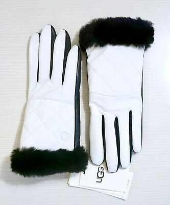 NWT UGG Women's Shearling Cuffed Leather & Nylon Touchscreen Smart Gloves, White