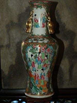 Rare 19Th Century Famille Rose Vase With Gilt Deer Heads Rare