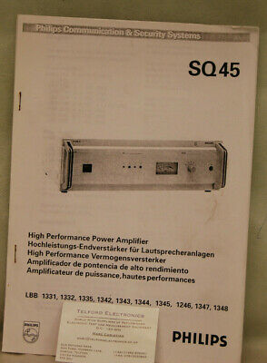 Philips SQ45 High Power Power Amplifier Technical Data & Operating Instructions