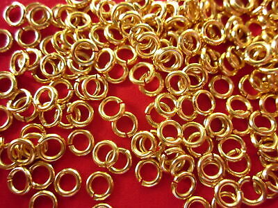 100 Strong Gold Coloured Brass Jump Rings 7mmx1.2mm #2165 Jewellery Making Craft