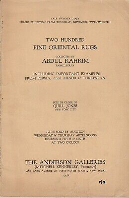 Two Hundred Fine Oriental Rugs Collected Abdul Rahrim Anderson Galleries 1928