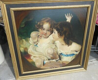 Big Vintage Classical Young Girls Painting Framed