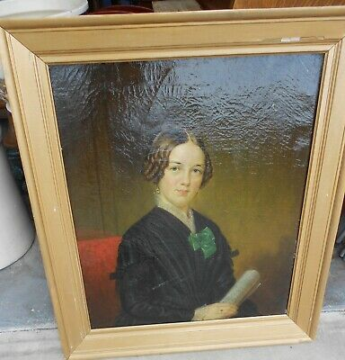 19 th Century Antique Painting Pretty Irish Girl Portrait Framed