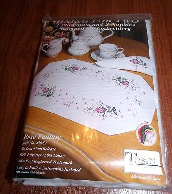 Tobin Stamped Embroidery ROSE FANTASY Placemats & Napkins Set Dining for Two