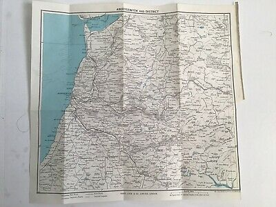 Aberystwyth and District, 1960 Vintage Map, Bartholomew, Original, Wales
