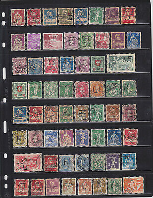 WW Perfins - Switzerland - Assorted Patterns/Issues - 62 Stamps