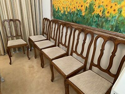 Set of 6 Antique / Vintage French Oak Dining Chairs With Padded Seats