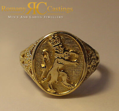 Unisex 9ct Solid Gold England Lions Ring Highly Polished 15 x 14 mm 7.4g