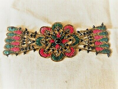 20s Flapper Beaded Panel RARE Applique Bodice Embellishment Red Green Cut-Steel