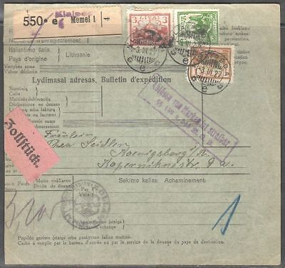 Lithuania 1927 Address for parcel with Mi 191,193,194; 3.3.1927