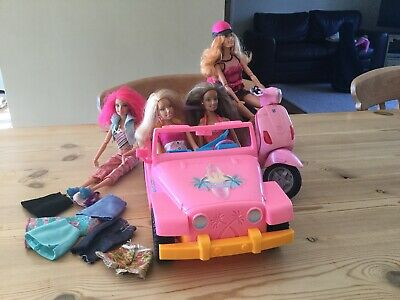 Barbie Moped, Car / Jeep Doll Bundle